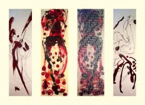 Fahnen DANZIG HORIZONTE - HORYZONTY 2015 480x52 Tuschen Grafit auf Chinapapier