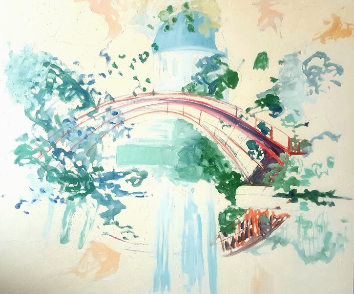 Rote Brücke ( Berlin Schlosspark Charlottenburg) Oil on canvas 100x120